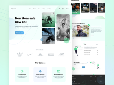 Sporto - Landing Page lacoste supreme new balance adidas nike sport app training running soccer basketball clothing sneakers uiuxdesign uxdesign landing page design landingpage sports design sportswear ui design