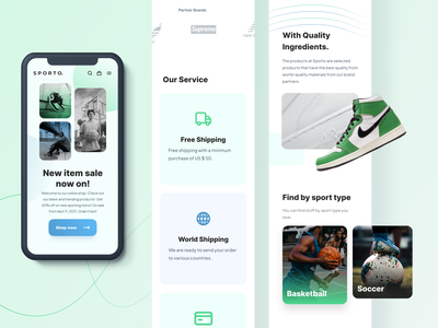 Sporto - E Commerce Landing Page Mobile Version basket ball running mobile app mobile ui responsive web design responsive website responsive design landingpage lacoste ecommerce eccomerceweb design clothing basketball adidas sneakers nike web ui design ui