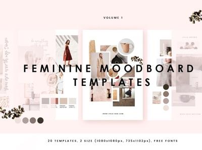 Feminine Mood board Templates