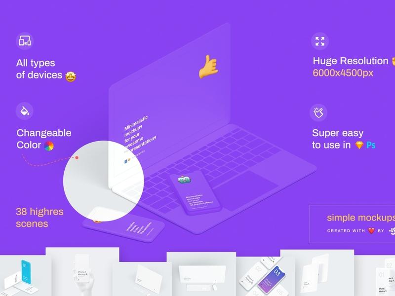 Simple Mockups Bundle for webdesign