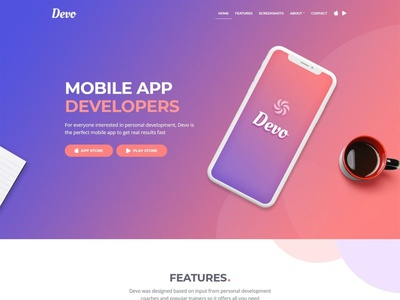 Devo - Mobile App Landing Page Template theme design wordpress web design theme landing page website web branding design