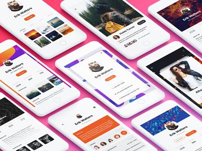 Profile Mobile App UI Kit vector ux elements flat ui app website web branding design