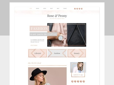 ROSE & PEONY   WIX Blog Template theme web design wix landing page elements app ui website web branding design