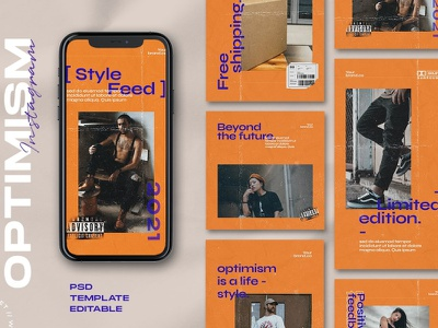 Optimism - Instagram Stories & Post social media design template post design instagram stories instagram post