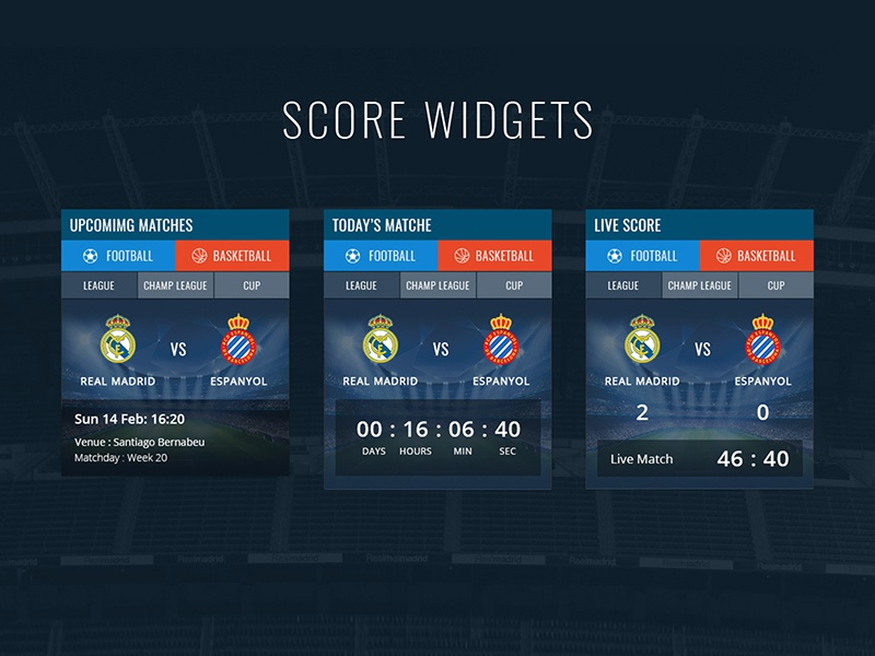 Madridista Live Score Widget visual design widget ui design