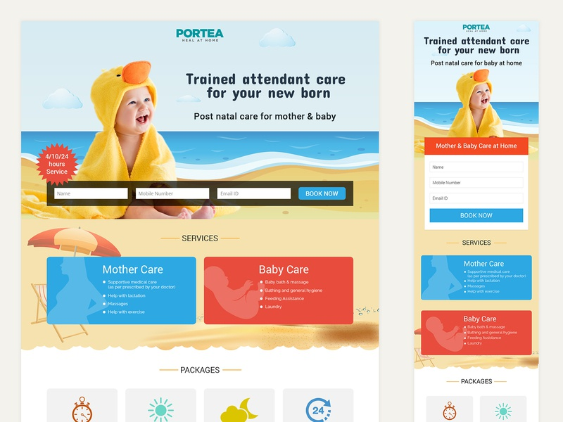 Landing Page Design - Mother & Baby Care ui visual design landing page design uidesign