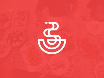 Broth Reject food broth soup logo line illustration simple modern hot
