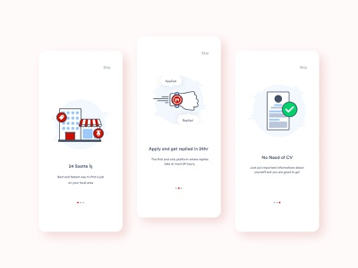 Onboarding screens for Mobile Recruitment App mobile app design jobs resume cv mobile app ui 2020 2020 trends