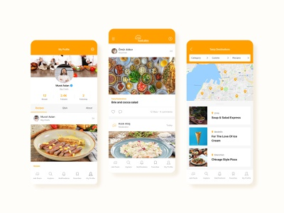 Screens for Digital Gastronomy Platform filtering map feed food mobile ui clean mobile app ux ui 2020 trends 2020