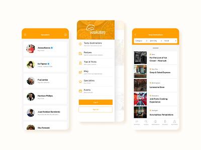 Mobile Screens for Digital Gastronomy Platform ui design mobile app listing drawer hamburger 2020 trends 2020