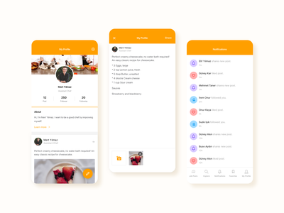 Digital Gastronomy Platform Profile and Activity Screens chefs food and beverage gastronomy clean mobile app design ux ui 2020 2020 trends