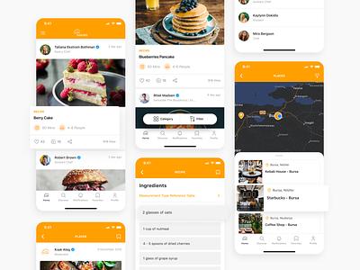 Screens for Digital Gastronomy Platform profile card gastronomy food app clean minimal ux design ui 2021 design 2021 trend