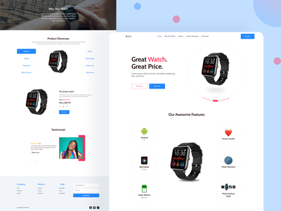 Smart Watch: Single Product Landing page landing page concept landing page ui landing page design landing page web app single product landing page single product smart watch cards website branding clean app web ui typography design ux minimal