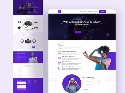 VR: Single product Landing Page product design visual design 2020 best landing page 2020 design 2020 trends single product landing page vr product web app website branding clean web ui typography ux design minimal