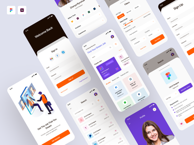 Job Finder Mobile App splash screen signup login profile home search product preview job preview filter color mobile app ui ux branding app web clean typography design minimal