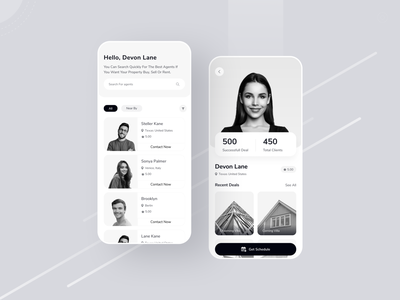 Real Estate Agent Finder Mobile App ux ui minimal property seller agent app black white black branding rental property product design real estate