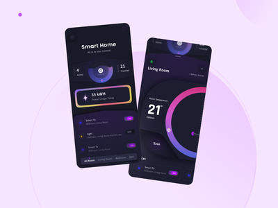 Smart Home Mobile App Concept 2021 trends branding interface user interface ux ui app app design home smart home house remote control home automation smart app smart devices smart home app device home monitoring control dark
