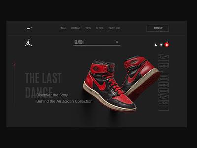 Nike/Air Jordan sport concept e-commerce shop jordan nike desktop shoes website simple app branding web typography ux ui air jordan minimal logo design