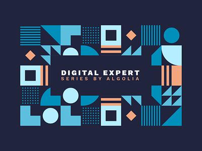 Digital Expert Webinar Series by Algolia modular design geometric vector social media thumbnail series webinar search algolia