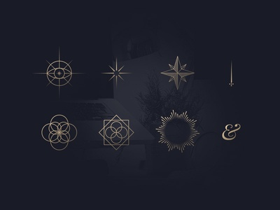 Abstract icons gold blue abstract lineart icons linecons pictogram picto