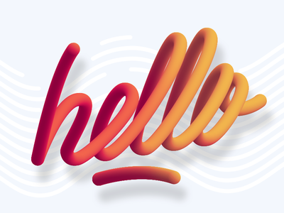 Hello - Experiment distort blend experiment red hello 3d lettering illustrator