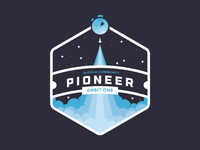 Algolia Pioneers hexagon take off algolia pioneer spacecraft rocket blue vectors badge space tshirt