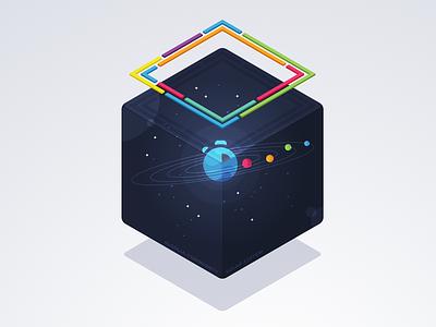 Algolia Community Solar System icon illustration vectors solar system community space star planet solar isometric cube box algolia