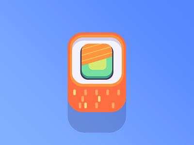 California Roll roll california illustration square flat vector icon maki sashimi sushi