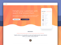 Algolia for E-commerce - Landing page