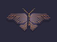 Orange Electronic Butterfly