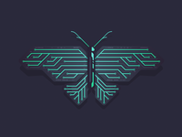 Green Electronic Butterfly