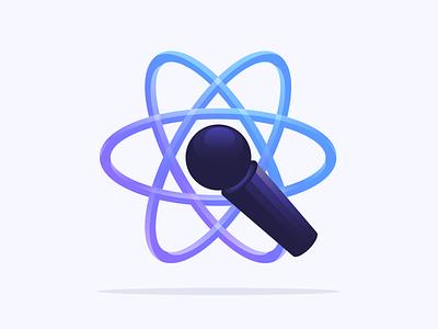 Speak React algolia search atom speaker conf react mic vectors illustration