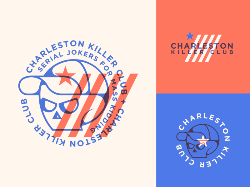 Charleston killer club patch badge logo stripes club overlays vector skull