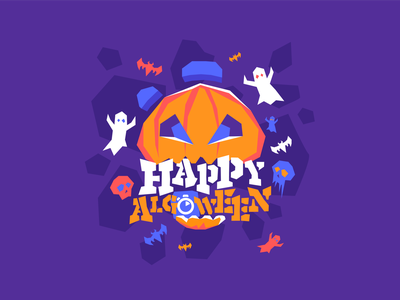 Happy Algoween! custom font party bats ghost party pumpkin polygonal illustrator algolia halloween