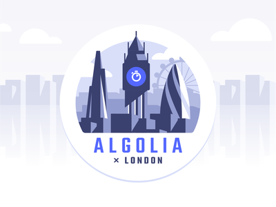 Algolia x London london eye big ben skyline city badge vector search office london algolia