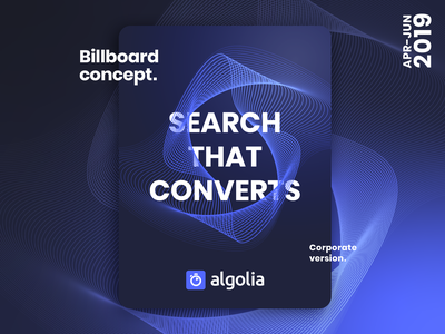 Algolia Billboard Concept lines branding search vectors blue vector billboard design algolia