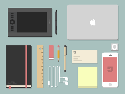 Dribbbler's Essentials dribbble essentials wacom pencil sharpie moleskine ruller eraser card iphone apple shuffle