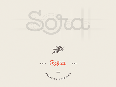 Sora Creative Catering construction olive gourmet culinary creative catering food logo