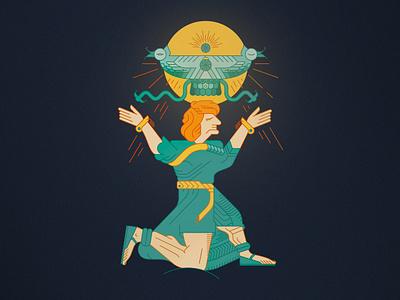 God Shivini. ararat teisheba illustration vector character armenian mithology