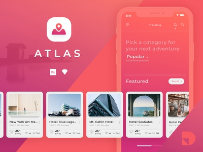 Explore Atlas: A travel app UI kit from InVision invision freebie travel mobile ui kit photoshop sketch free ui