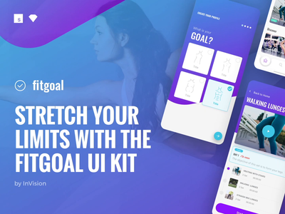 fitgoal—The UI Kit that checks itself out in the mirror invision freebie cards mobile ux studio sketch free ui kit