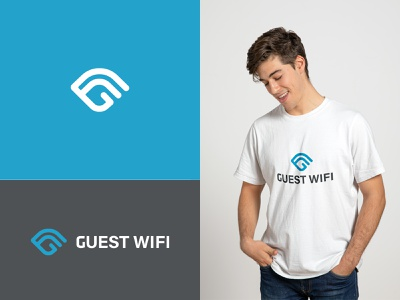 Guest Wifi custom modern business logo app brand icon typography logo flat vector illustration minimal skyblue network logo wifi