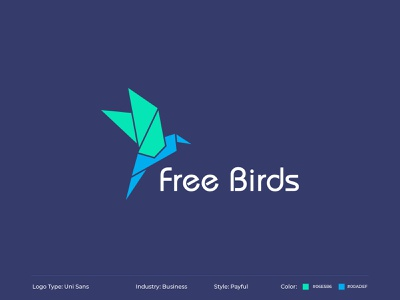 Free Birds business logo bcash type freelancer type blues bird brand icon design blue logo flat typography vector illustration minimal business business card