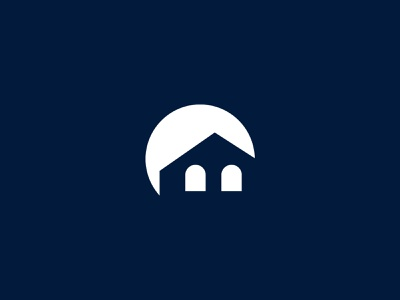 Moon Home circle light black branding brandauxin real estate logo moon logo modern brand icon logo blue vector flat illustration minimal moonlight night home moon