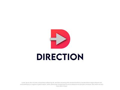 Direction project d direction d mark d logo modern logo brandauxin mockup shadow red modern icon business logo design flat logo typography illustration minimal directions direction