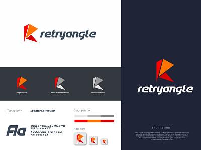 retryangle brand brandauxin template white font custom texture r logo redesign branding icon vector flat logo typography illustration minimal red triangle retryangle