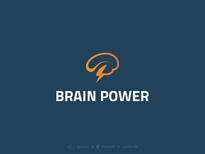 Brain Power brain logo brain brandauxin custom brand branding b icon design icon blue logo flat vector typography illustration minimal power b b letter b letter logo