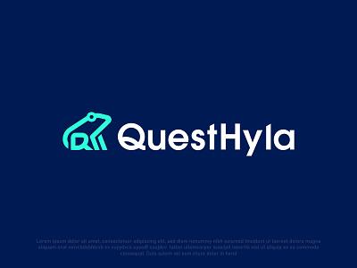 Quest Hyla circle modern logo brand identity brandauxin dribble colorfull custom modern web ux business logo brand design icon branding vector typography frog logo q letter logo frog