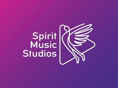 Spirit Music Studios modern logo brand design female white media spirits studios music brand identity design logo branding flat typography illustration brand vector icon brandauxin