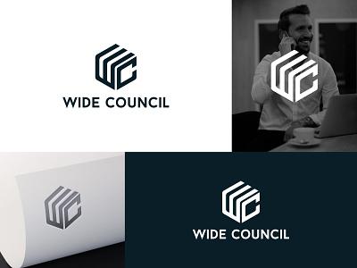 WC Logo line event blackandwhite wide polygon presentation c logo w logo design logo branding flat minimal icon typography illustration brand vector brandauxin